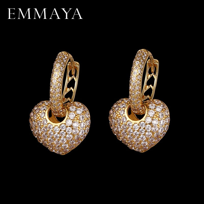 EMMAYA Luxury Heart Shape Earrings Pave Setting with AAA Cubic Zirconia Wedding Earring Earrings for Women Jewelry Brincos