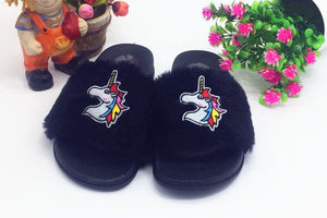 Unicorn Slippers New Fashion Plush Home Slippers Flat Shoes Woman Slide Slippers Women Cartoon Unicorn Big Size 36/41 Flip Flop