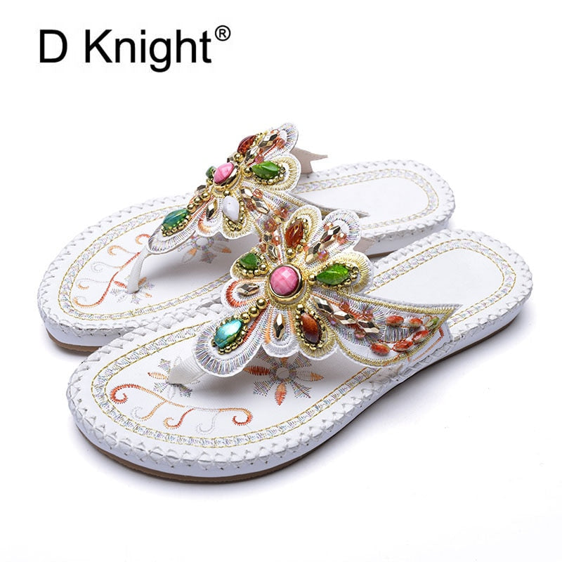 Tong Femme Crystal Flat Sandals Bohemian Slippers with Rhinestone Lady Slide Summer Shoes Rome Black Flip Flop Sandals for Women