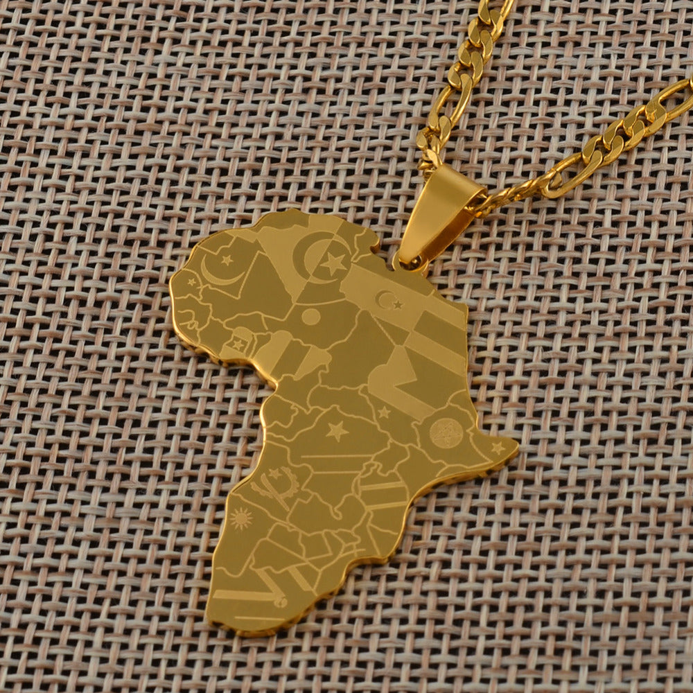 Anniyo Gold Color Africa Map With Flag Pendant Chain Necklaces African Maps Jewelry for Women Men #035321P