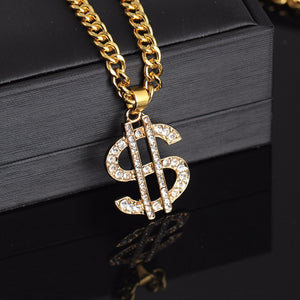 Shellhard Hip Hop Jewelry US Dollar Money Pendant Necklaces Luxury Gold Color Long Chain Necklace Men Women Accessories Necklace