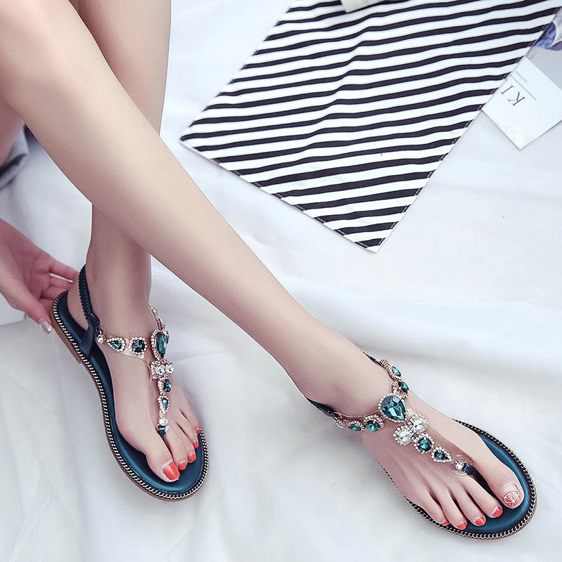 2018 Bohemia High Quality Wedge Women Sandals Summer Vintage Rhinestone Woman Flip Flops Beach Women Shoes Blue Black