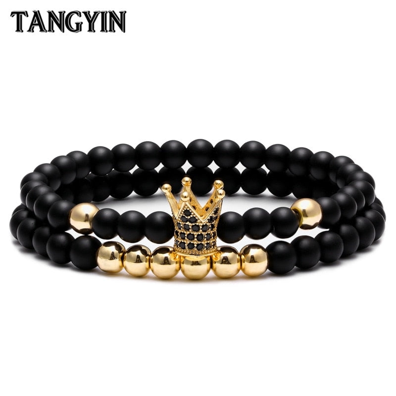 Charm Crown Bracelet Couple Bracelets For Women Jewelry 6mm Nature Stone Micro-inlaid zircon Gold Silver Men Bracelet Homme Gift