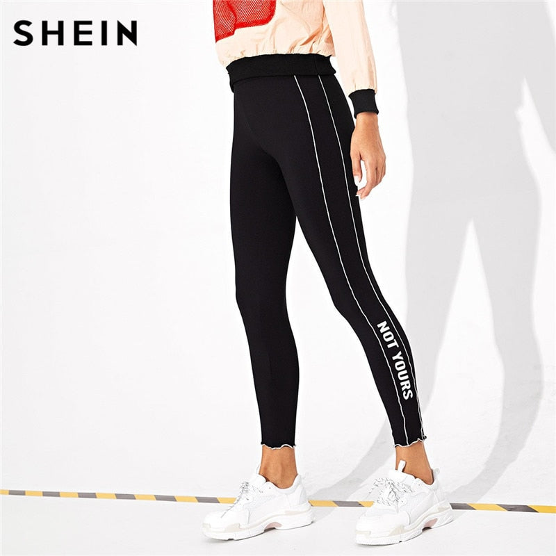 SHEIN Black Casual Solid Plain High Waist Crop Streetwear Leggings Autumn Leisure Modern  Lady Lettuce Trim Letter Women Legging