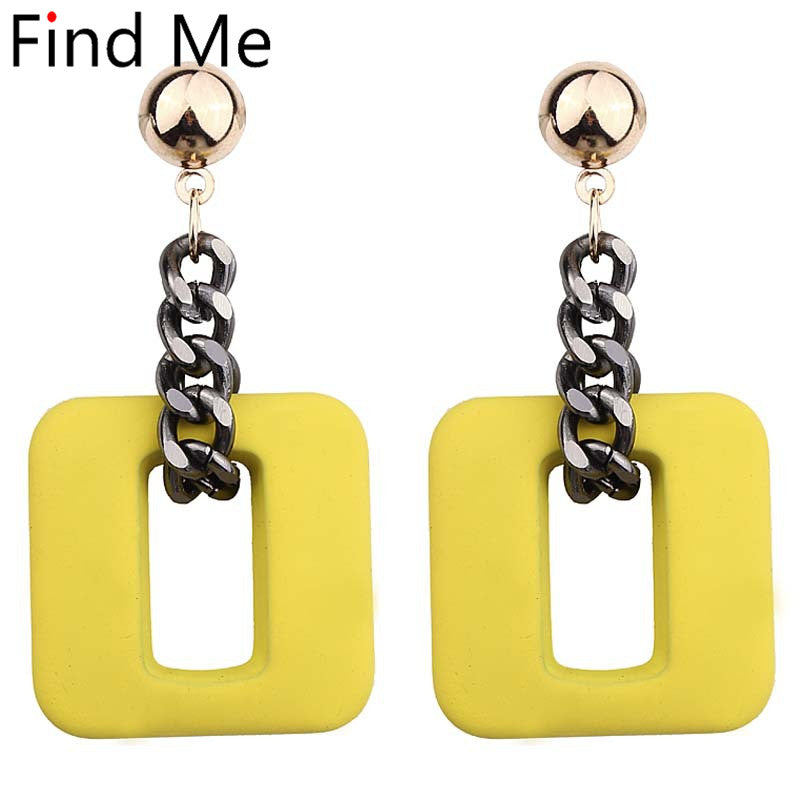 Find Me 2019 new high-grade Fashion resin chain Drop Earrings For Women Jewelry Brand geometric alloy Dangle Earrings wholesale