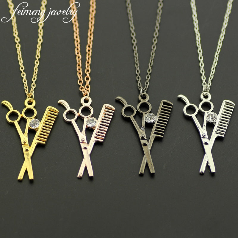 Cosmetologist Stylist Beautician Necklace Scissors Comb Hairdresser Gift Scissors & Comb Pendant Necklaces For Women Men Collar