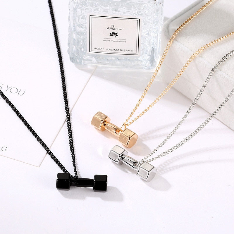 New Arrival Dumbbell Pendant Fitness Necklace For Women Men Bodybuilding Gym Barbell Necklaces Fitness Jewelry Gifts