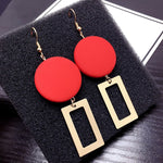 2018 New Fashion DIY Wooden Round Earrings Jewelry Long Section Earrings Geometric Rectangle Earrings For Women Gifts Wholesale