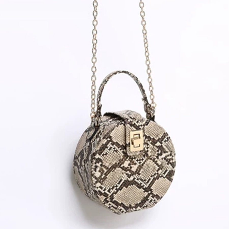 Retro Serpentine Chain Round Bag Women Handbags Printed Small PU Leather Shoulder Crossbody Bags Female Serpentine Messenger Bag