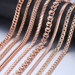 Personalized Necklace for Women 585 Rose Gold Curb Snail Link Chain Gold Necklace Men's Woman Jewelry Gifts 45cm 50cm 60cm GNN1