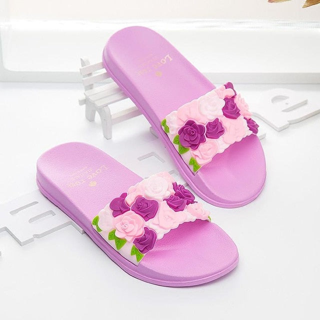 Cute Women Slippers Summer Slides Rose Lovely Flowers Home Slippers Thick Soled Sandals Women Shoes Flip Flops Zapatillas Mujer
