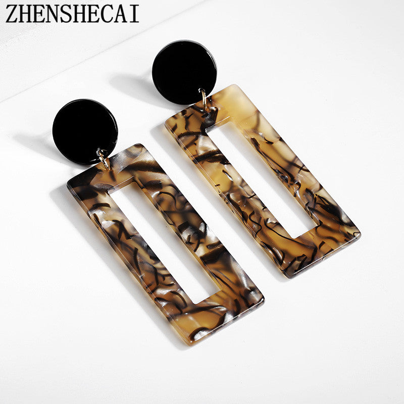 2018 fashion Jewelry Acrylic Dangle Earrings For Women Leopard print Geometry Big square Earrings Acetate Brincos gift