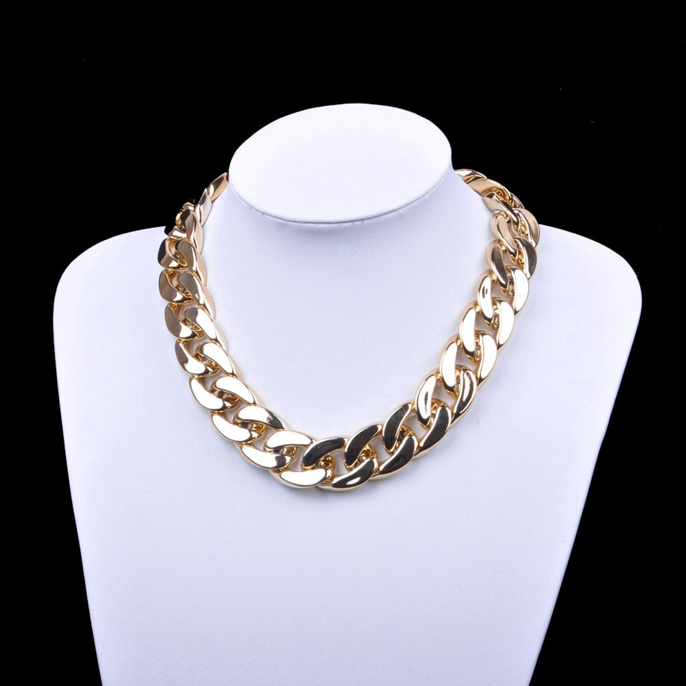 Fashion Retro Gothic Punk Style Chain Gold Fashion Geometric Clavicle Necklace Women Jewelry Chunky Link Chain Short Necklace
