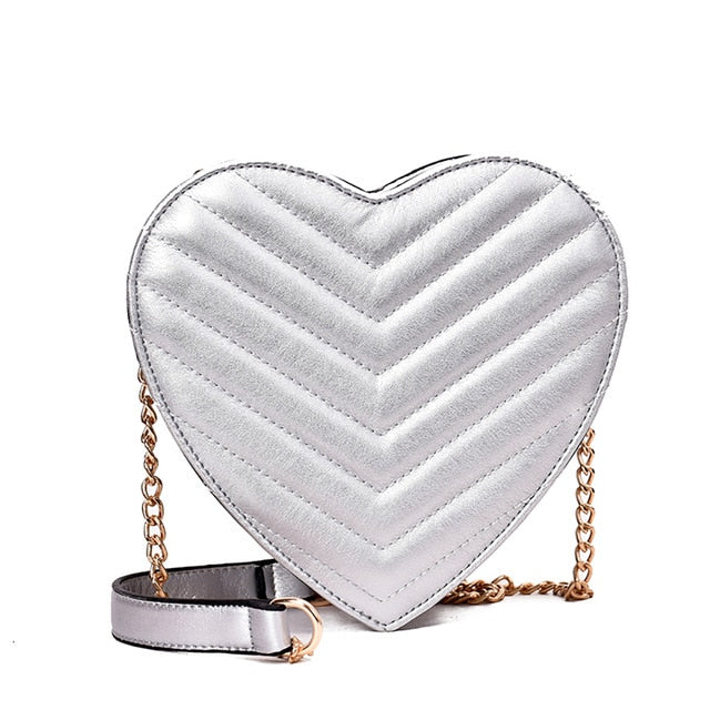 Fashion Heart Shape Women Shoulder Bag Metal Strap Party Mini Pouch Messenger Crossbody Bags For Women Handbag