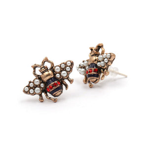 JURAN 2019 new arrival Bee crystal earrings party jewelry accessories cute pearl statement insect stud earrings for women
