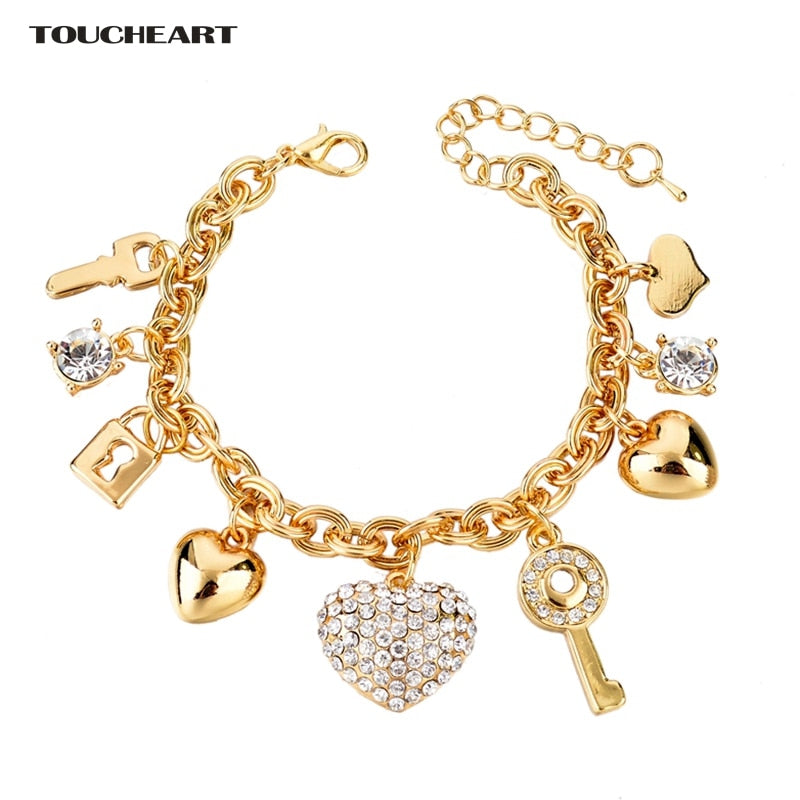 TOUCHEART Stainless Steel Heart & Key Charms Bracelets & Bangles For Women Jewelry Making Gold  Wedding Bracelet Femme SBR140221