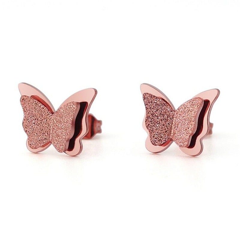 Oly2u Ear Earring Sliver Lovely Stainless Steel Earrings Animnal Butterfly Stud Earrings for Women Kids Jewelry Christmas Gift