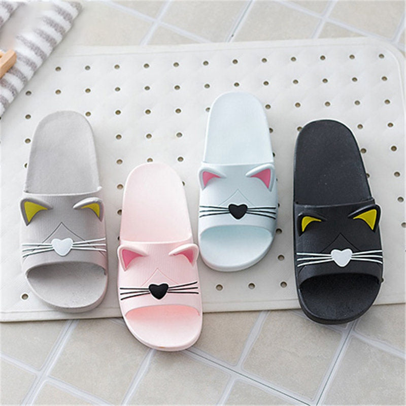 New Summer Women Shoes Cute Animal Sliders Cartoon Flip Flops Sandal Home Bathroom Slippers Non-Slip On Flats Female Shoes