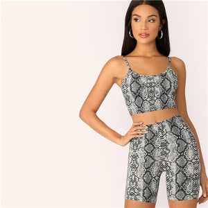 COLROVIE Scoop Neck Animal Snake Skin Print Crop Tank Top and Leggings Shorts Suit Set Women 2019 Sleeveless Sexy Two Piece Set