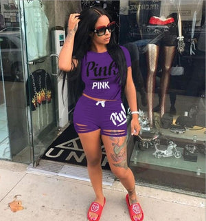 2018 Pink Letter Print 2 Piece Set Tracksuit Women Top And Hollow Pants Casual Outfit Sweatshirts Two Pcs Sportwear 3XL Dropship