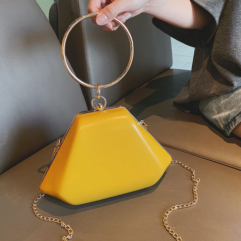 Women Yellow Color Metal Ring Handle Shoulder Bag New Fashion Summer Box Shape Women Handbag Crossbody Bag Flap Wholesale