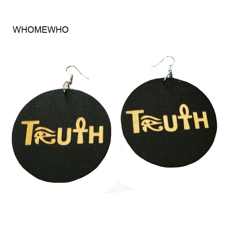 60cm Wood Africa Truth Letters  Eye of Horus Nefertiti Egypt Afro Rock Earrings Wooden African Hiphop Tribal Party Club Jewelry