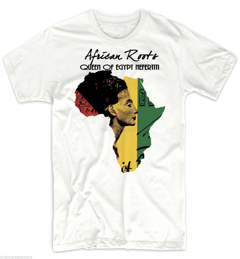2019 Fashion Casual Men T-shirt Africa T-Shirt, African Map, Black History, Rastafari, Reggae Cotton NEFERTITI