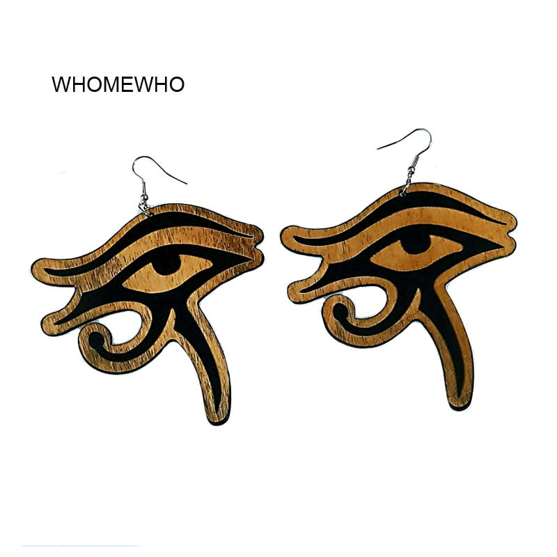 Silver Metal Natural Wood Laser Cut Geometric Eye of Horus Nefertiti Egypt Africa Earrings Bohemia African Wooden DIY Jewelry