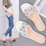 2019 fashion women flip flops black White transparent vamp Rhinestone Non Slip outside women slippers klapki damskie na lato