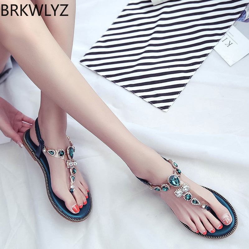 2019 Bohemia High Quality Wedge Women Sandals Summer Vintage Rhinestone Woman Flip Flops Beach Women Shoes Blue Black