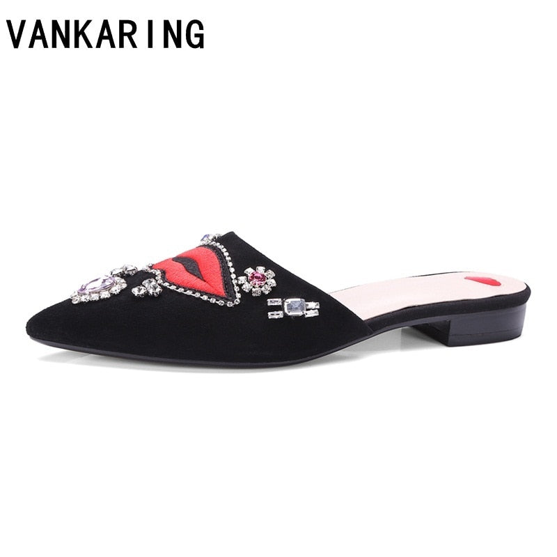 VANKARING brand shoes women suede leather sandals women fashion slippers lady summer flat shoes black flip flops casual mules