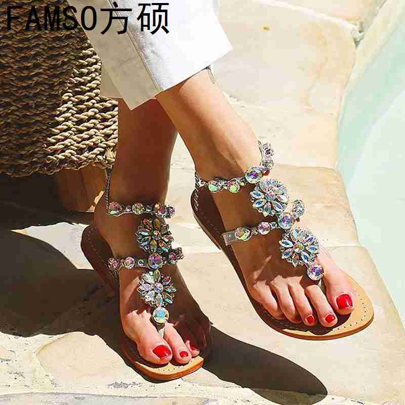 FAMSO 2019 Size 35-43 Shoes Women Sandals Black Gold Silver Flip Flops Summer girl Casual Rhinestone Slides Summer Flats Sandals
