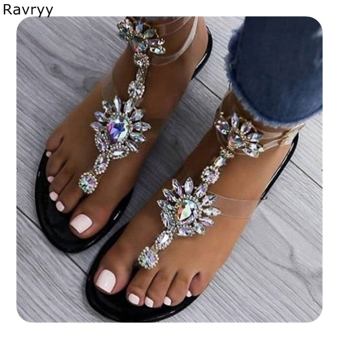 Bling bling crystal sandals summer hot sale woman flats black flip flops both ankle buckles female party dress shoes beach shoes