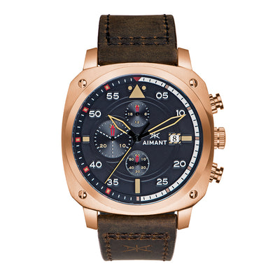 men's dakar rose gold watch with brown strap