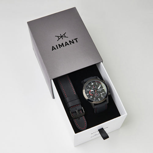 interchangeable black silicone leather watch set for men