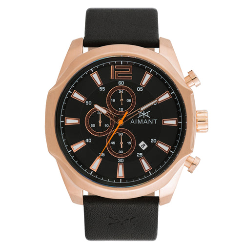 lyon rose gold black men's watch