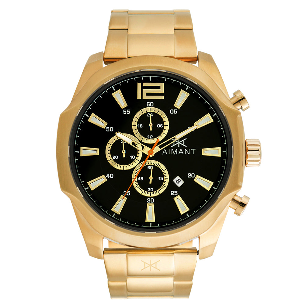 lyon gold black men's watch