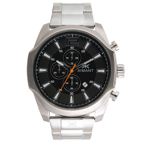 lyon silver black men's watch