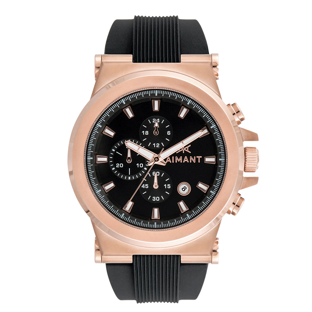 monaco rose gold black watch for men
