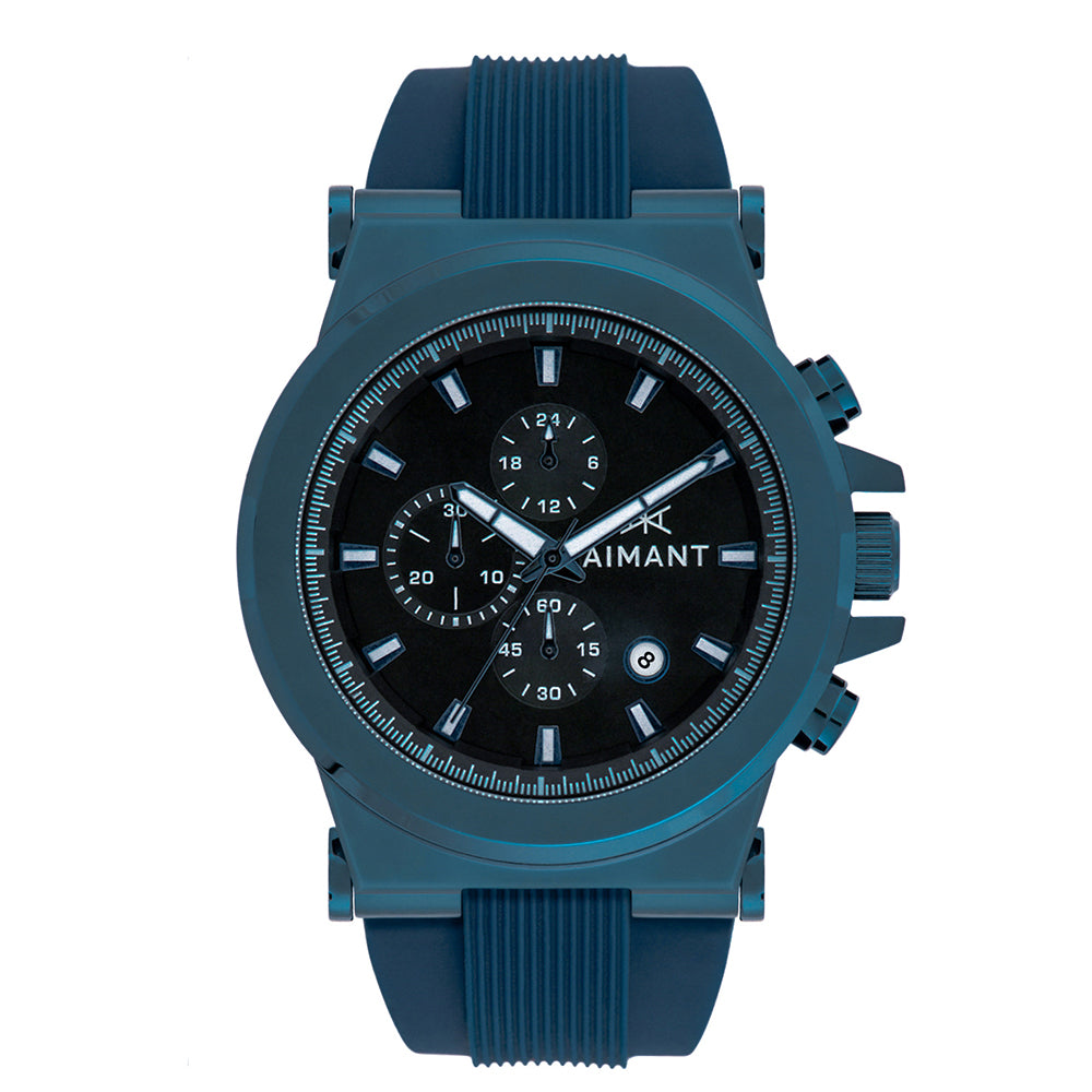 metallic blue monaco watch for men