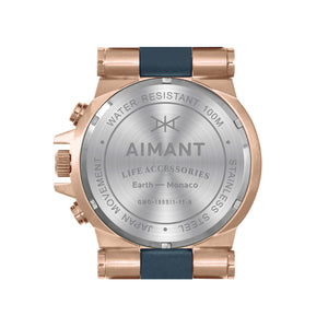 monaco rose gold blue men's watch