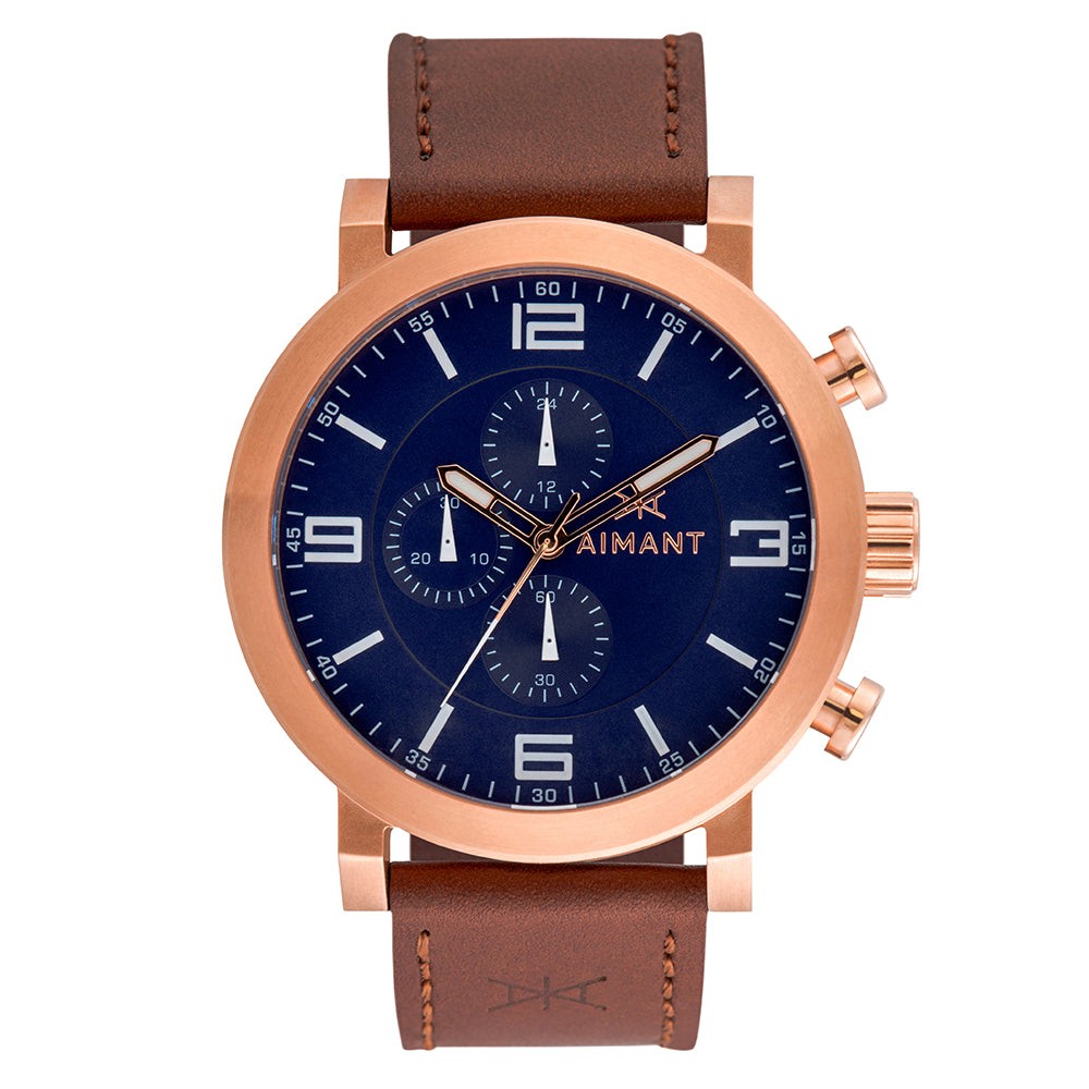 maui rose gold brown watch for men