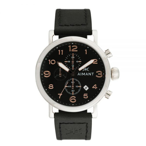 rotterdam silver black men's watch