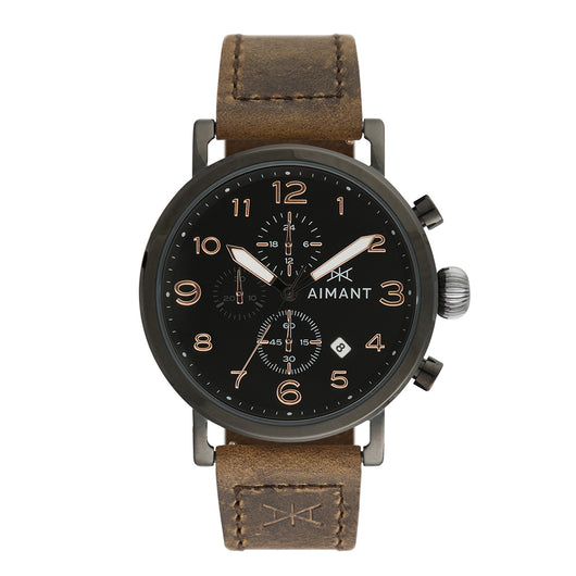 rotterdam black brown men's watch