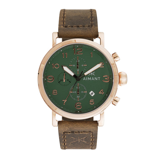 rotterdam rose gold brown men's watch
