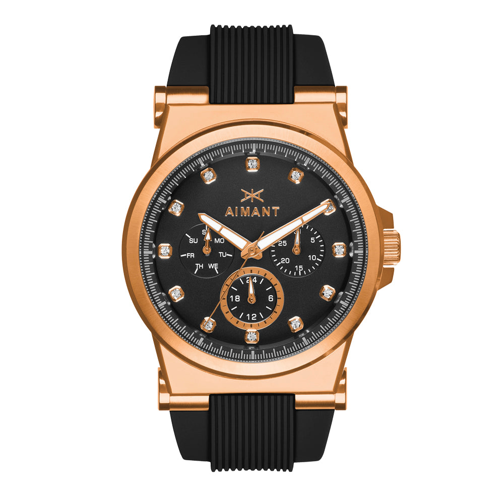 ibiza rose gold black watch for women