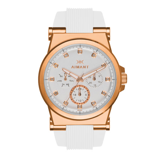 ibiza rose gold white watch for women