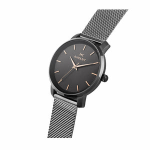 womens bali gun metal mesh strap watch