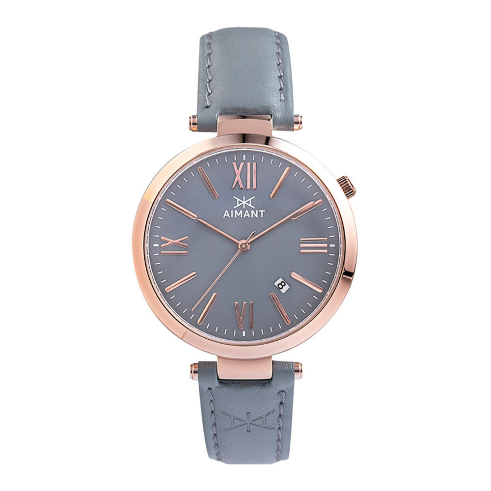 bora rose gold grey women's watch