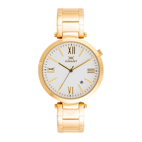 bora gold white women's watch